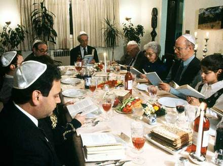 Passover family seder