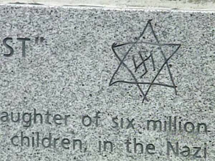 The Nazi Swastika circumscribed by a Star of David. A classic Antisemitic equation of Jews and their tormentors.